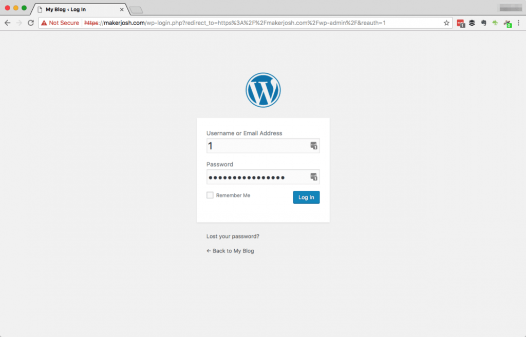 log in to new wordpress website