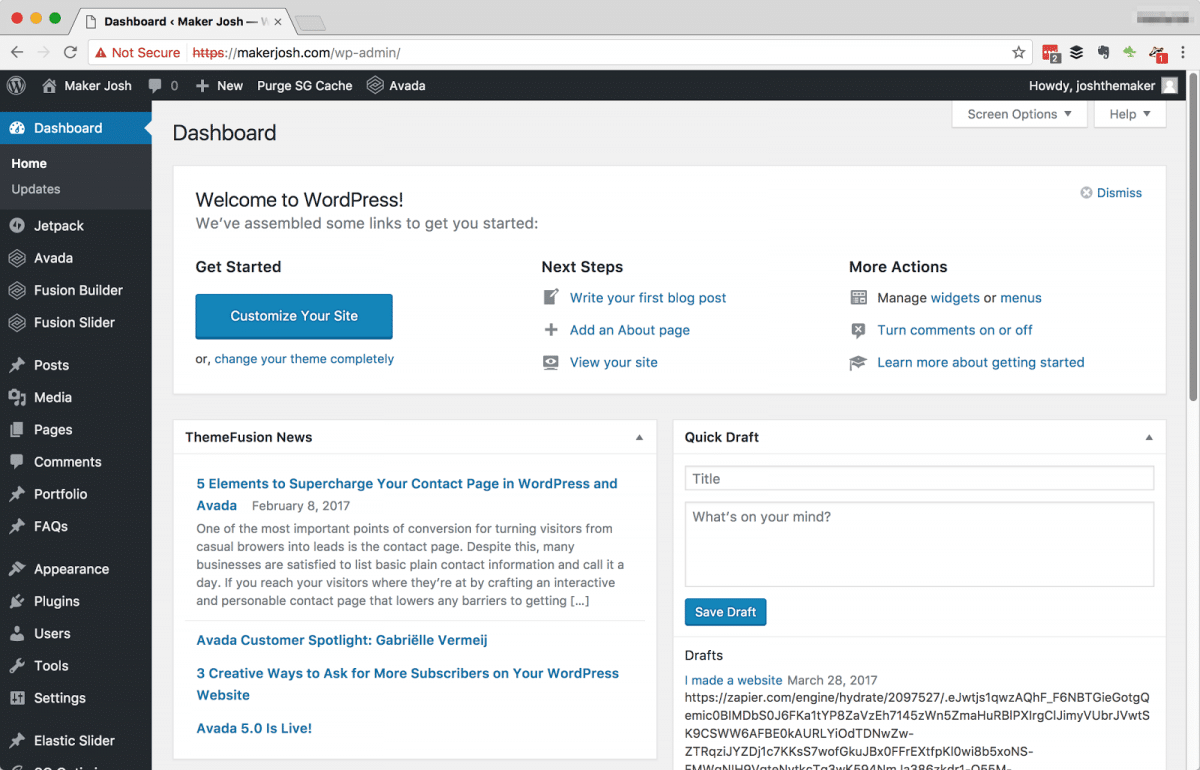 wordpress website admin panel